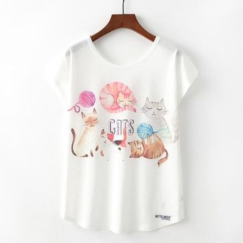 Cute Cats Family  Flowy Loose T-Shirts