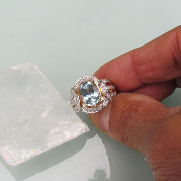 Aquamarine Anniversary Ring in 14k Gold and Diamond Halo Setting September Birthstone Gemstone