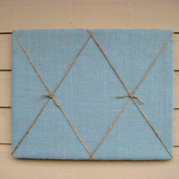 Burlap and Jute Twine Nautical Bulletin Board,Turquoise Blue Photo Memory Board, Memo message Board,