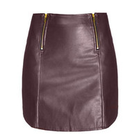 Wine Red Leather Skirt With Zipper