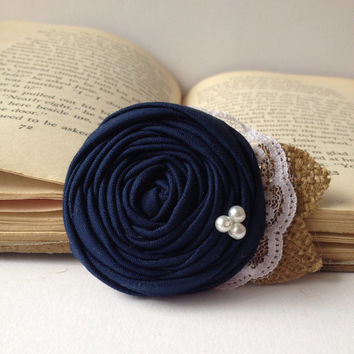 Navy blue wedding Shabby chic rustic vintage rosette hair piece accessory burlap pearls lace clip fabric flower girl bridal bridesmaid rose