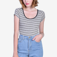 Sarah Striped Leotard - Grey