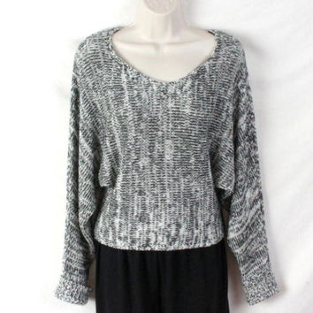 Anthropologie Sparkle & Fade M Size Sweater Black White Dolman Sleeve All Season