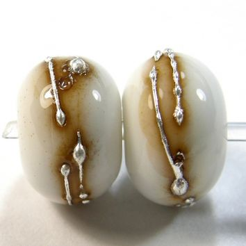 Opaque White Cool Pastel Odd Handmade Lampwork Glass Beads 954v Choice of Shiny or Etched (.999 Fine Silver Extra)