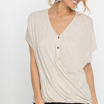 Sadie Button Down Surplice Top