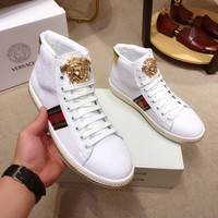 Versace  Man Fashion Casual Shoes Men Fashion Boots fashionable Casual leather Breathable Sneakers Running Shoes Sneakers