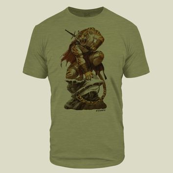 Tiger Warrior Olive Light Tri-Blend T-Shirt