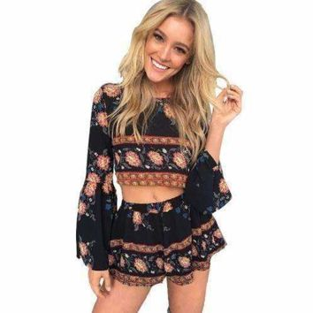 Boho Bell Sleeve Floral Print Women Two Piece Romper