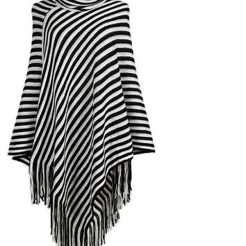 Vintage Black And White Striped Tassel Poncho New Autumn Turtleneck Sweater Women Irregular Casual Pullover
