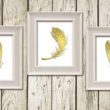 Feather Gold White Set of 3 Printable Instant Download Poster Wall Art Home Decor G154-5-6w