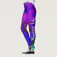 Purple Watercolor Marble Sweet 16 Leggings