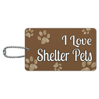 I Love Shelter Pets Brown with Paw Prints ID Card Luggage Tag