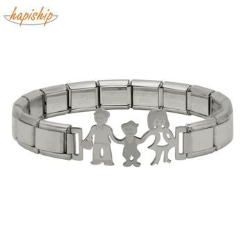 Hapiship 2018 Fashion Women's Jewelry Family Charm Stainless Steel 7 Color 9mm Bracelet Bangle For Women Girl Wife  Jewelry G082