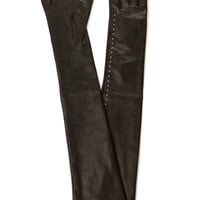 ALEXANDER MCQUEEN BLACK LEATHER LONG GLOVES