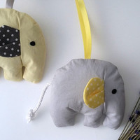 Elephant lavender bags, yellow and grey nursery decor, baby shower favours, new baby gift, safari animal nursery, neutral theme