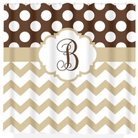 Chevron Polka Dot SHOWER CURTAIN Brown Beige Bathroom Decor Choose Your Colors Custom MONOGRAM Personalized Bath Beach Towel Plush Bath Mat