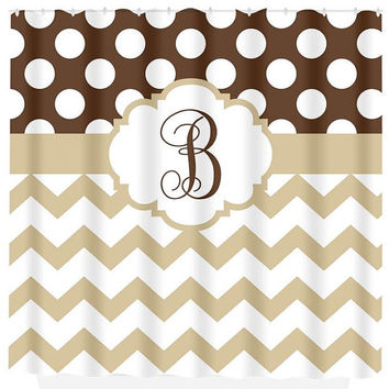 chevron polka dot shower curtain brown from trmdesignshop on etsy