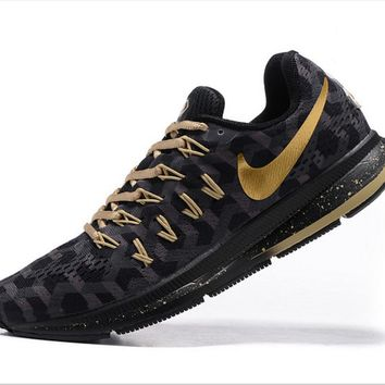 Tagre™ NIKE fashion casual breathable running shoes Black gold