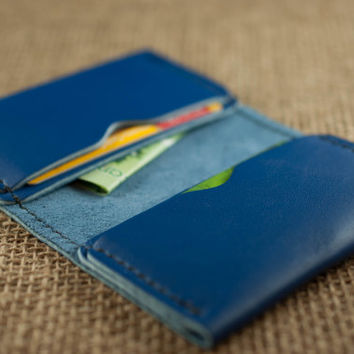 Mens Leather Bifold Wallet // Royal Blue Leather // Beautfiul Slim Design // Mens Womens Leather Wallets