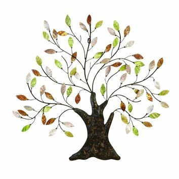 Metal Tree Wall Art With Textured  Leaves, Multicolor By Benzara