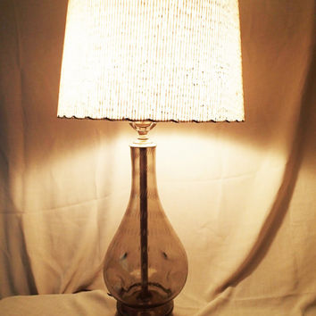 Table lamp Blenko  hand blown controlled bubble pinched hand blown pinched glass lamp.