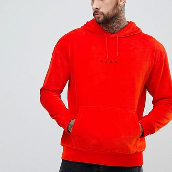 Puma Velvet Pullover Hoodie In Red Exclusive To ASOS at asos.com