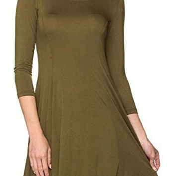 Women Fit & Flare 3/4 Sleeve Mini Tunic Swing Dress