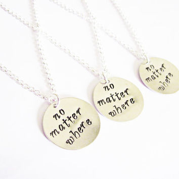 3 sisters necklace long distance handstamped necklace personalized jewelry gift for best friends best friend jewelry friendship bff necklace