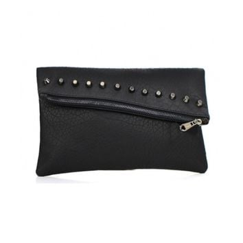 Women's Clutch Black Studded Leather With Zipper Closure