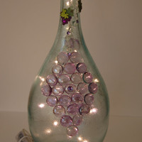 Clear/Translucent Lighted Wine Bottle with Grapes