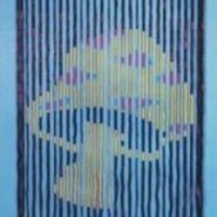 Wooden Beaded Door Curtain ~ Mushroom ~ Hand Painted ~ Fits Standard Door Way ~ Approx 31 Strands