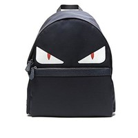 Wiberlux Fendi Men's Monster Eyes Leather Trimmed Backpack