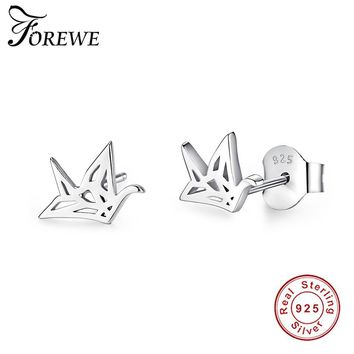 FOREWE Fashion 925 Sterling Silver Earrings Lovely Origami Crane Stud Earrings for Women Fancy Birds Earrings Wedding Jewelry