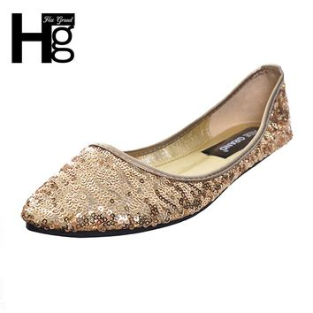HEE GRAND 2017 New Women Bling Flats Shallow Party Pointed Toe Flat Shoes Woman Size 35-41 XWD5650