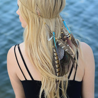 Bohemian headband, Boho headpiece, feathers, boho chic, bohemian, musical festivals, Coachella, just adorable, feathers, braid, eyecandie