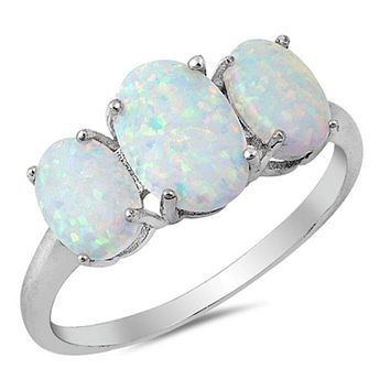 Triple Oval White Lab Opal Set in Sterling Silver Band