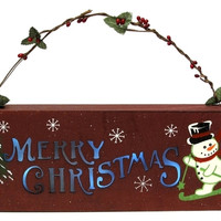 Wooden Merry Christmas Wall Plaque with Lights