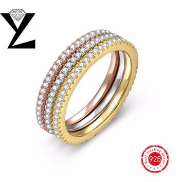 Real 925 Sterling Silver Wedding Ring Sets Bridal Accessories Rose/Yellow Gold Plated for Women Promise Ring for Couples Jewelry