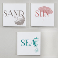 Set of 3 Beach Wall Canvases - Seashore Wall Art - 12x12 Canvas set, Beach House Decor, Shell Print, Sand, Sun and Sea, Vacation Home Decor