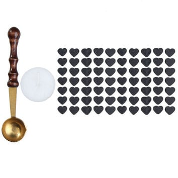 1pcs Vintage Wax Stamp Sealing Wax Spoon Wood Handle Sealing Mini Melting Wax Spoon+70pcs Heart Shaped Sealing Wax Beads