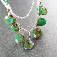 Turquoise Green Necklace Sterling Silver Chain Beaded Necklace Rustic Green Bohemian Glass Earthy Green Boho Necklace Fall Fashion Jewelry