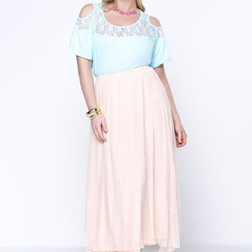 Streetstyle  Casual Open Shoulder Solid Patchwork Hollow Out Plus Size T-Shirt