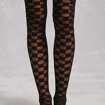 Checkered Thigh-High Tights