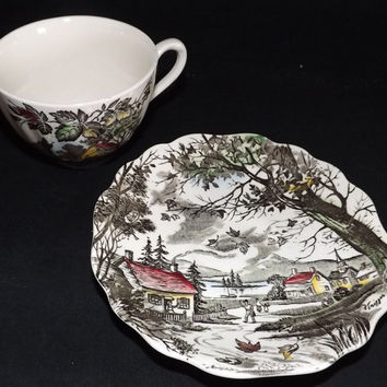 "Antique Tea Cup and Saucer by J G Meakin, ""Welcome Home"" Pattern, English Staffordshire, Winter, Barn, Horses, Country"
