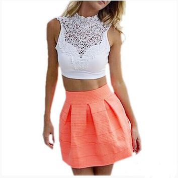 2017 Summer Women Sexy Lace Floral Crop Top Short Tee Bustier Vest Cut Out Bra Cami Tank Tops OM