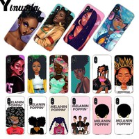 Yinuoda For iphone 7 6 X Case New Personalized MELANIN POPPIN Black Girl Phone Case for iPhone 8 7 6 6S Plus X 5 5S SE 5C