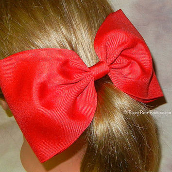 "More Colors!  Huge 8"" Bow Tie Style Hair Bow - Extra Large Grosgrain Bow - Large Girls Back Bow - Giant 4"" Wide Ribbon RoseyBow® Hair Bow"