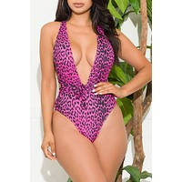 Cruise Vibes One Piece Swimsuit Animal print Pink