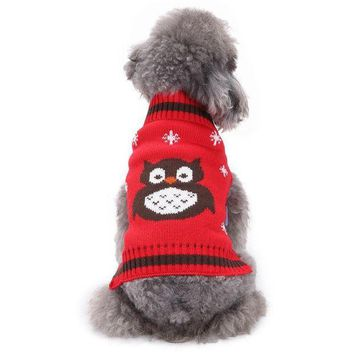 PEAPON PACGOTH Pet Sweaters Cat Dog Puppy Sweater Halloween Christmas Clothes Animal Owl Pattern Warm Clothing for Winter Dog Supplies