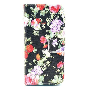 Black Floral Design Leather Flip Case Cover For iphone 5c With Card Holder